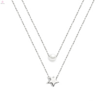 Women Jewelry Star Pearl Silver Pentagram Pendant Necklace