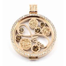 Rosen-Gold überzogener Gedächtnis Locket mit Liebes-Münzen-Platte