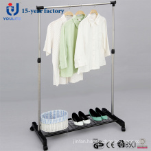 Ylt-0306 Stainless Steel Single Rod Clothes Hanger with Mesh