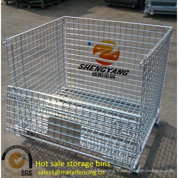 Capacité de chargement 250-2500 kg entrepôt rectangulaire cages usine appliquée transport métallique maille stockage cages vente chaude bacs de stockage