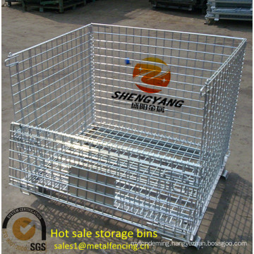 loading capacity 250-2500kg rectangular warehouse cages factory applied transport metal mesh storage cages hot sale storage bins