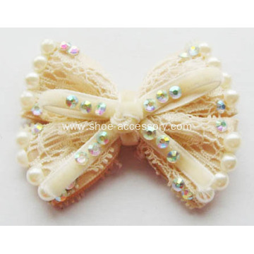 Cream Chiffon Bowknot Rhinestone Shoe Flower with Pearl