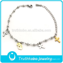Shiny Polishing Two Tone Unique Virgin Mary and Jesus Cross Pendant Stainless Steel Jewelry Religious Charm Ball Ankle Bracelet