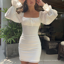 Spring and Summer New Sexy Square Neck White Long-Sleeved Dress with One Word Shoulder Pleated Chest