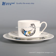 Name Customized High Quality Western Dishes Dinnerware, Bone China Vintage Tableware Cup And Plates