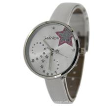 Relógio de Ladie de quartzo de estrela de charme de tira branco