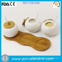Оптовый белый керамический банкетный шар для специй
