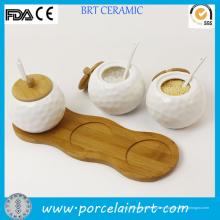 Cocina cerámica blanca por mayor bolas tarro para especias