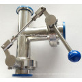 Sanitary Stainless Steel Three-Way Thread/Clamp/Weld Butterfly Valve with One Pulling Handle