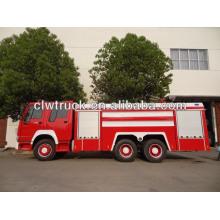 Camión de bomberos, tanque de agua espuma de lucha contra incendios camión, Howo 6x4 fuego fihting camión, Howo bomberos camiones de combate, camiones de bomberos,