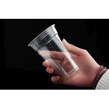 Copo plástico Pet descartável de Wholelsale com tampas