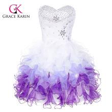 Grace Karin Strapless Sweetheart Branco e roxo Short Puffy Cocktail Dress CL4977-3