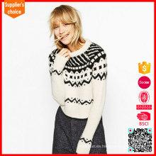 Nuevo diseño de punto jersey de alpaca suéteres de mujer sudaderas de lana de alpaca para las mujeres