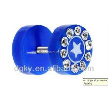 Sapphire ear plugs jóias corpo, orelha piercing piercing jóias