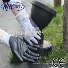 NMSAFETY nylon doux et nitrile enduit HPPE revêtu de gants de protection résistant aux coupures