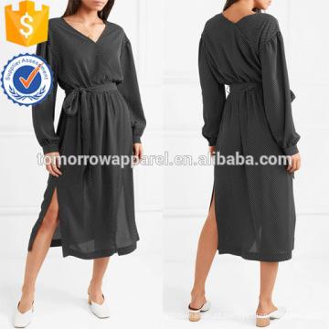 Oversized polka-dot georgette manga comprida vestido de verão midi manufatura grosso moda feminina vestuário (ta0021d)