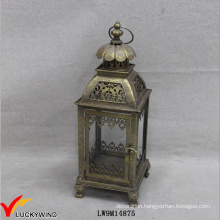 Square Handmade Gold Antique Candle Lantern