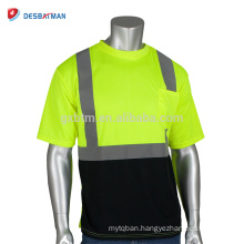 Hi Viz Lime Mens 2 Tone Round Collar Reflective T-shirt Work Safety High Visibility EN471 Security Clothes With Chest Pocket