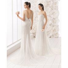 Pesado lantejoulas beading tule vestido de noiva vestido de noiva