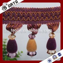 Nouveau rideau design élégant perles de perles frange pour maison textile ou lampe de table