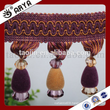 new curtain design elegant jet beads fringe for home textile or table lamp