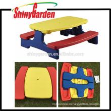 Venta caliente plástico picnic niños integral mesa y silla taburete