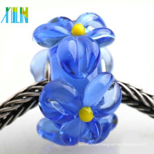 European style pave transparent flower murano glass beads to make bracelets