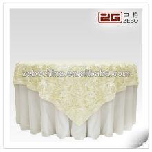 La fábrica directa del diseño vendedor caliente hizo el paño de tabla de encargo al por mayor de la boda de la roseta