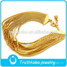 14K Gold Fashion Style 316L Stainless Steel Thin Motorcycle Curb Chain Link Bracelet Show Our Own Style