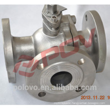 Three port dn80 3 way flanged type ball valve