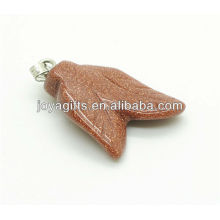 Wholesale natural gold stone double leaves shape pendant gemstone pendant