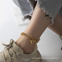 European and American Gold and Silver Hollow Metal Punk Hip Hop Ins Cuba Chain Retro Temperament Lock Pendant Fashion Jewellery Anklet for Women