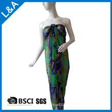 Polyester Printed Chiffon Scarf Beach Dress Green