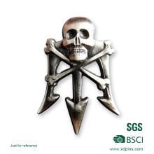 2016 más nueva insignia del cráneo de la aleación 3D del cinc del metal para la promoción