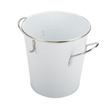 Metal Ice Bucket With Scoop White