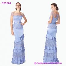 Blau Layered Lace Short Sleeves Prinzessin Neueste Großhandel Lady Abendkleid
