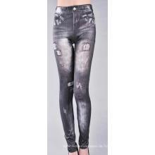 Jeans Leggings Löcher nahtlose gedruckt aus Polyester Denim