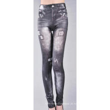 Buracos de Leggings jeans sem costura impressa poliéster Denim
