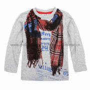 Gray ready-made autumn boys' T-shirt with printing