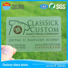ISO Cr80 Design Frosted Clear Transparent PVC Card for Business
