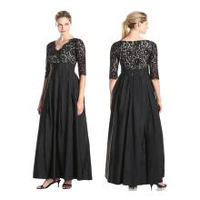 Премиум полиэстер фабрика сразу продавая женщин мода с коротким рукавом скромные модели повседневные черные кружевные платья