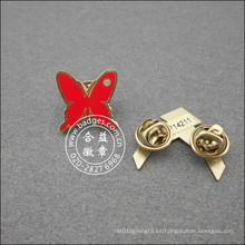 Pin de la solapa de la forma de mariposa, insignia plateada esmalte (GZHY-LP-049)