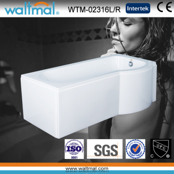 P Shape Acrylic Shower Bath Bathtub with Skirt (WTM-02316L/R)