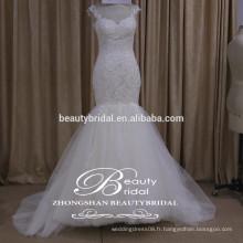 Courroie de spaghetti voir à travers la robe de mariée arrière élégante robe de mariage attrayante à col haut