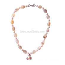 Natural Agate Stone Pearl Beaded Necklace