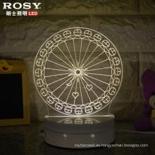 Rueda de Ferris por mayor de China 3D LED lámpara luz de noche con puerto USB
