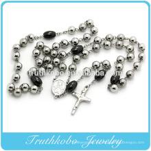 2016 de gama alta de dos tonos de plata y collar de rosario con cuentas grandes negras en venta