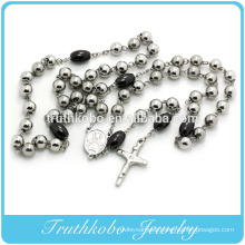 2016 High end two tone sliver and black big bead rosary necklace jewelry for sale