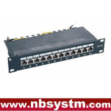 "12 portas STP Cat5e Patch Panel 10 ""1U, Krone IDC"
