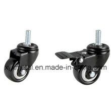 Roulette pivotante à levier léger. Double roulement Electroplate Black Frame, Mute Design. Meduim Duty Caster
